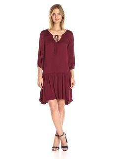 Michael Stars Women's Romy Rayon 3/4 Sleeve Drop Waist Dress