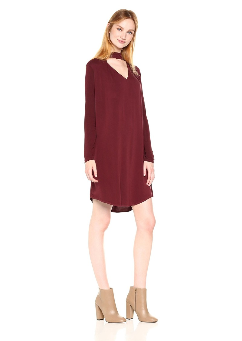 Michael Stars Women's Rylie Rayon Long Sleeve Mixed Media Choker Swing Dress  L