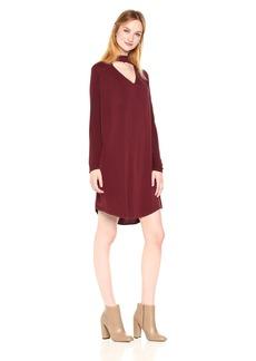 Michael Stars Women's Rylie Rayon Long Sleeve Mixed Media Choker Swing Dress  M