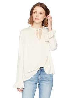 Michael Stars Women's Rylie Rayon Long Sleeve Split Neck Peasant Top  L