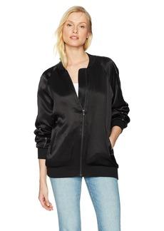Michael Stars Women's Satin Long Sleeve Oversized Bomber Jacket  L