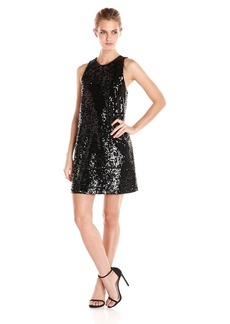 Michael Stars Women's Sequin Sleeveless Crew Neck Shift Dress