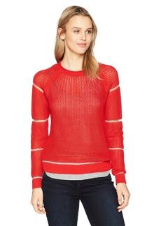 Michael Stars Women's Sheer Stripe Long Sleeve Crew Neck Pullover  S