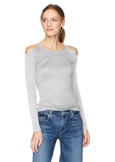 Michael Stars Women's Shine Long Sleeve Crew Neck with Cold Shoulder  O/S