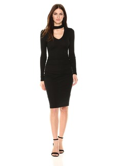 Michael Stars Women's Shine Long Sleeve V-Neck Choker Dress  L