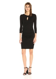 Michael Stars Women's Shine Twisted Keyhole Fitted Dress  L