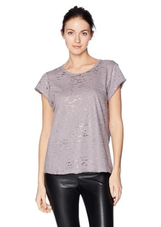 Michael Stars Women's Short Sleeve Crew Neck Tee with Splatter Foil  O/S