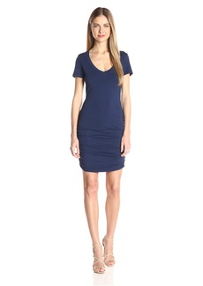 Michael Stars Women's Short Sleeve Vee Neck Dress with Ruching  M