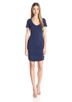 Michael Stars Women's Short Sleeve Vee Neck Dress with Ruching  XS