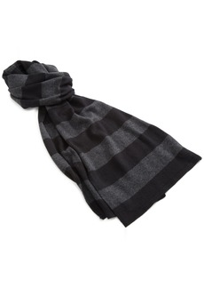 Michael Stars Women's Simplistic Stripe Scarf Charcoal/black