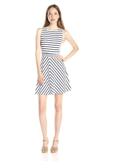 Michael Stars Women's Sleeve Less Stripe Jersey Crossback A Line Dress White/Navy