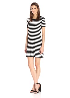 Michael Stars Women's Sophie Stripe Crew Neck Tee Dress  L