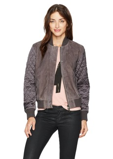 Michael Stars Women's Suede Bomber with Quilted Sleeve  L