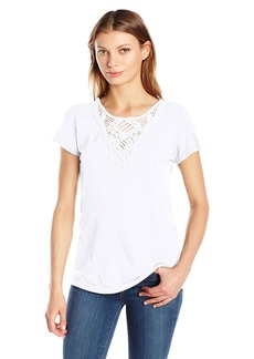 Michael Stars Women's Supima Cotton Slub Crochet Crew Neck Tee