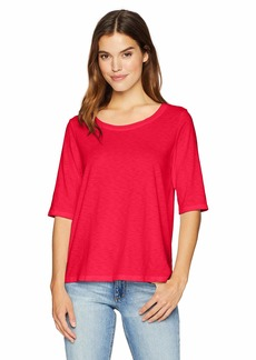 Michael Stars Women's Supima Cotton Slub Elbow Sleeve Swing Tee