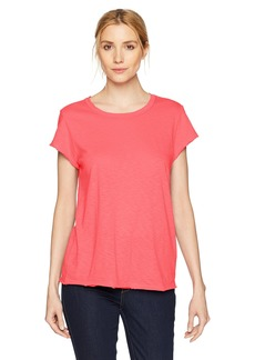 Michael Stars Women's Supima Cotton slub Short Sleeve Crew Neck tee neon Coral