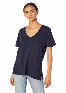 Michael Stars Women's Supima Cotton Slub V-Neck Boyfriend tee