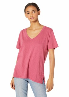Michael Stars Women's Supima Cotton Slub v-Neck Short Sleeve Boyfriend tee