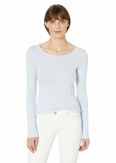 Michael Stars Women's Supima Long Sleeve raw Edge Band Crew tee