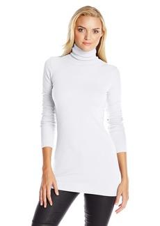 Michael Stars Women's Supima Long Sleeve Turtleneck Tunic Shirt white O/S