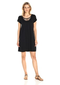 Michael Stars Women's Tee Dress with Crochet Trim  S