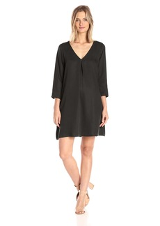 Michael Stars Women's Tencel Longsleeve Vee Neck Swing Dress  XS