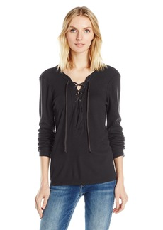 Michael Stars Women's Thermal Long Sleeve Lace up Top  O/S