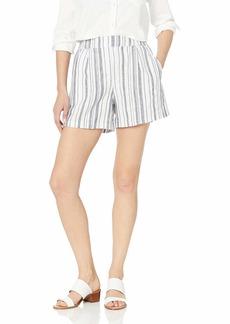 Michael Stars Women's Trisha Beach Stripe Linen Highwaisted Shorts Admiral/White Extra Small