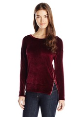Michael Stars Women's Velour Long Sleeve Pullover with Zip Detail
