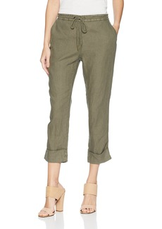 Michael Stars Women's Woven Linen Cuffed Trouser  M