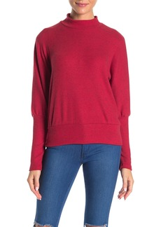 Michael Stars Mock Neck Dolman Sleeve Ribbed Knit Top