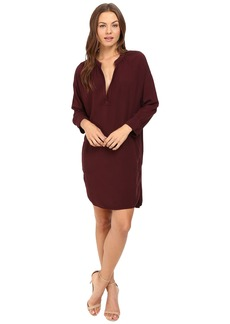 Michael Stars Modern Rayon 3/4 Sleeve Split-Neck Dress