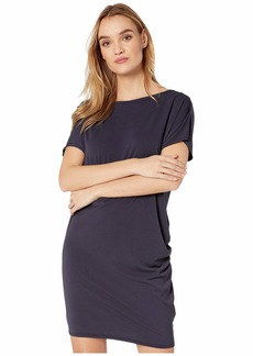 Michael Stars Monroe Cambria Crepe Knit Boat Neck Dress w/ Shirring