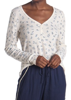 Michael Stars Nadine Floral Long Sleeve Thermal Henley