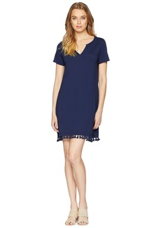 Michael Stars Notched Neck Tee Dress w/ Fringe