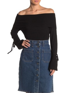 Michael Stars Off-the-Shoulder Bell Sleeve Shirt