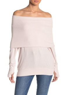 Michael Stars Off-the-Shoulder Long Sleeve Thumb Hole Shirt