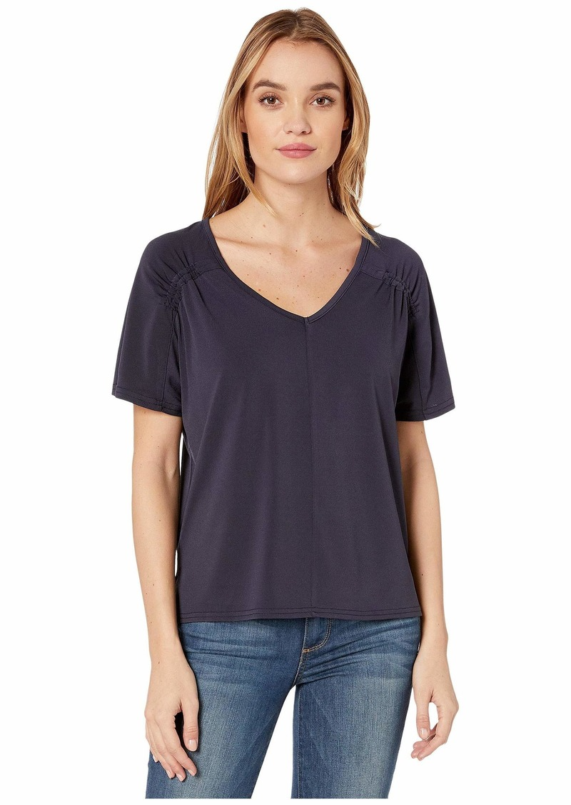 Michael Stars Patrice Cambria Crepe Knit Top w/ Shirring
