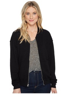 Michael Stars Perforated Terry Rounded Zipper Bomber