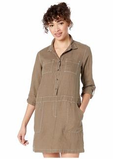 Michael Stars Pilar Woven Linen Shirtdress with Contrast Stitching
