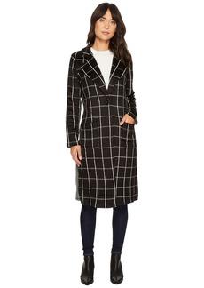 Michael Stars Plaid Coating Long Sleeve High Slit Coat