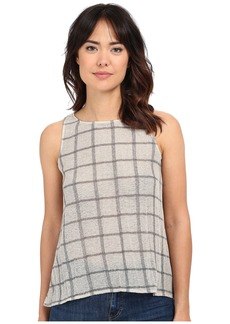 Michael Stars Plaid Mesh Sleeveless Top w/ Split Back