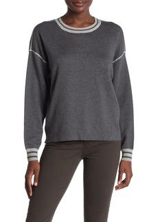 Michael Stars Reversible Stripe Trim Crew Neck Sweater