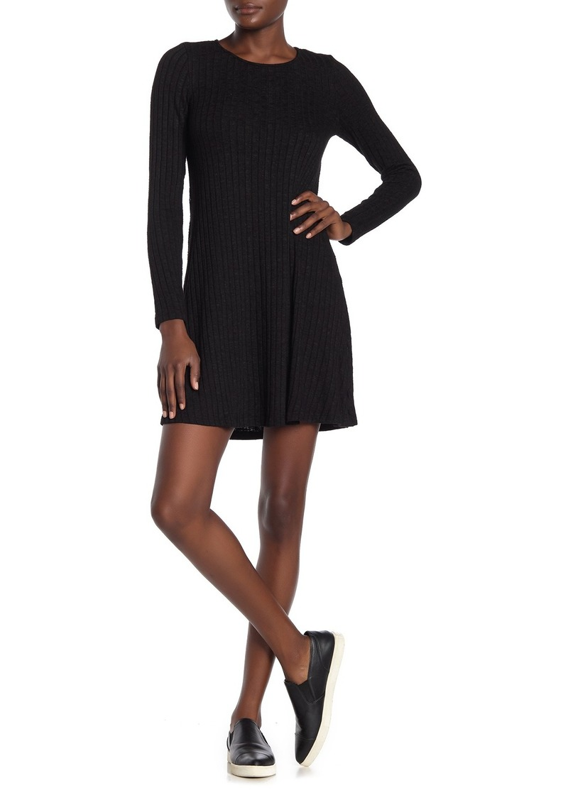 Michael Stars Ribbed Long Sleeve Crew Neck Dress