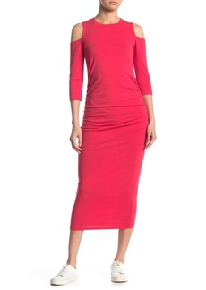Michael Stars Ruched Cold Shoulder Midi Dress