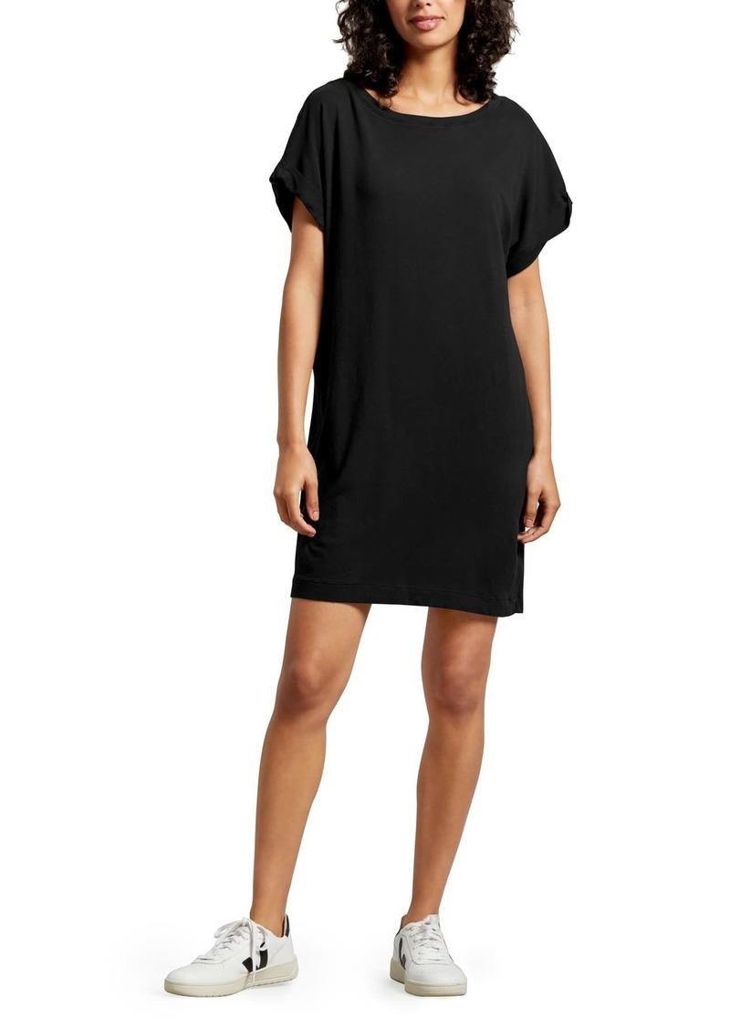 Michael Stars Scarlet Boatneck Cuffed Sleeve T-Shirt Dress