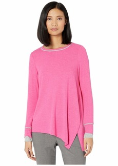 Michael Stars Sinclair Brushed Madison Jersey Asymmetrical Top with Contrast Piping