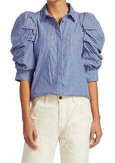 Michael Stars Sus Stripe Puff-Sleeve Blouse