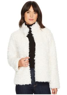 Michael Stars Teddy Fur Long Sleeve Reversible Short Coat