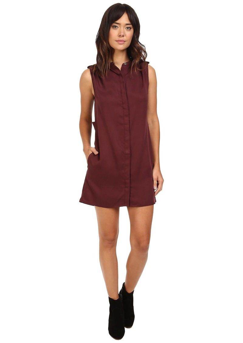 Michael Stars Tencel Sleeveless Shirtdress w/ Pleated Shoulder